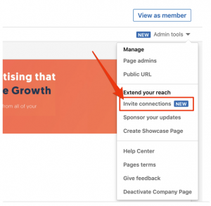 Page admins can invite connections to follow business pages